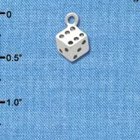 C4474+ tlf - Silver Dice - Silver Plated Charm