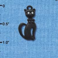 C4490 tlf - Tall Sitting Matte Black Cat - Silver Plated Charm
