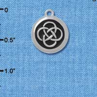 C4578+ tlf - Celtic Knot in Black Circle - Silver Plated Charm