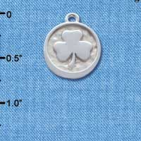 C4633+ tlf - Shamrock - Round Seal - Silver Plated Charm