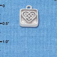 C4637+ tlf - Celtic Knot Heart - Square Seal - Silver Plated Charm