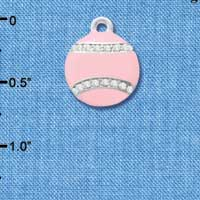 C4695 tlf - Pink Softball with Pink Swarovski Crystal Stitching - Silver Plated Charm