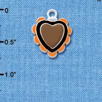 C4733+ tlf - Brown & Black Heart with Orange Ruffles - 2 Sided - Silver Plated Charm