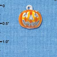 C4740+ tlf - 3-D Large Orange Jack O' Lantern with Green Leaves - Silver Plated Charm