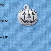 C4741+ tlf - 3-D Large Silver Jack O' Lantern with Leaves - Silver Plated Charm