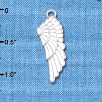 C4809* tlf - Large White Enamel Angel Wing - Silver Plated Charm