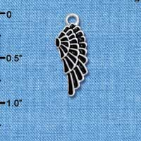 C4811* tlf - Medium Black Enamel Angel Wing - Silver Plated Charm