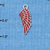 C4812* tlf - Medium Translucent Red Enamel Angel Wing - Silver Plated Charm