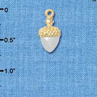 C4827+ tlf - Small Silver Acorn with Gold Top and Swarovski Crystals - Im. Rhodium & Gold Plated Charm