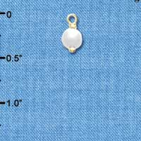 C4851+ tlf - 6mm Glass Pearl Bead Drop with Ball Head Pin - Gold Plated Charm