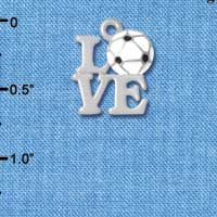 C4885 tlf - Silver Love with Soccer Ball - Silver Plated Charm