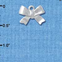 C4898+ tlf - 3-D Silver Textured Bow - Silver Plated Charm