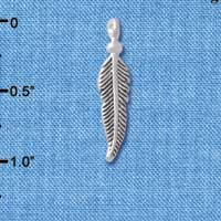 C4901+ tlf - Small 3-D Feather - Silver Plated Charm
