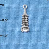 C4908+ tlf - Pagoda with Clear Crystal 3-D - Silver Plated Charm