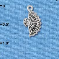 C4914+ tlf - Silver Fan with AB Swarovski Crystal - Silver Plated Charm