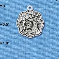 C4915+ tlf - Dragon and Phoenix Medallion - Silver Plated Charm