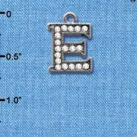 C4926 tlf - Crystal Black Letter - E - Beaded Border - Black Nickel Plated Charm