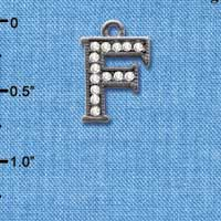 C4927 tlf - Crystal Black Letter - F - Beaded Border - Black Nickel Plated Charm