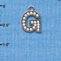 C4928 tlf - Crystal Black Letter - G - Beaded Border - Black Nickel Plated Charm