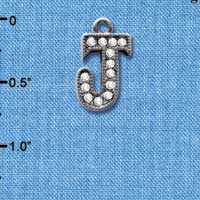 C4931 tlf - Crystal Black Letter - J - Beaded Border - Black Nickel Plated Charm