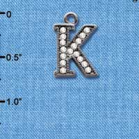 C4932 tlf - Crystal Black Letter - K - Beaded Border - Black Nickel Plated Charm