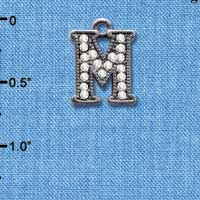 C4934 tlf - Crystal Black Letter - M - Beaded Border - Black Nickel Plated Charm
