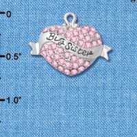 C4987 tlf - 'Big Sister' Banner on Pink Crystal Heart - Silver Plated Charm