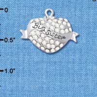 C4988 tlf - 'Big Sister' Banner on Clear Crystal Heart - Silver Plated Charm