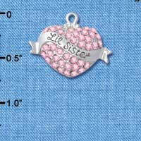 C4991 tlf - 'Lil Sister' Banner on Pink Crystal Heart - Silver Plated Charm