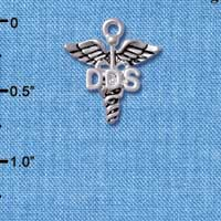 C5001 tlf - Caduceus - DDS - Silver Plated Charm