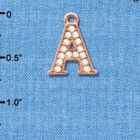 C5041 tlf - Crystal Rose Gold Letter - A - Beaded Border - Rose Gold Plated Charm