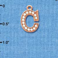 C5043 tlf - Crystal Rose Gold Letter - C - Beaded Border - Rose Gold Plated Charm