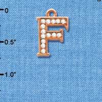 C5046 tlf - Crystal Rose Gold Letter - F - Beaded Border - Rose Gold Plated Charm