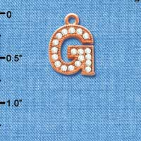 C5047 tlf - Crystal Rose Gold Letter - G - Beaded Border - Rose Gold Plated Charm