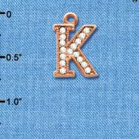 C5051 tlf - Crystal Rose Gold Letter - K - Beaded Border - Rose Gold Plated Charm