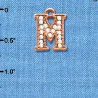 C5053 tlf - Crystal Rose Gold Letter - M - Beaded Border - Rose Gold Plated Charm