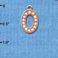 C5055 tlf - Crystal Rose Gold Letter - O - Beaded Border - Rose Gold Plated Charm