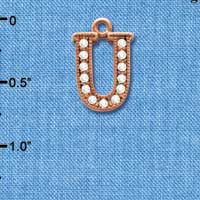 C5061 tlf - Crystal Rose Gold Letter - U - Beaded Border - Rose Gold Plated Charm