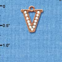 C5062 tlf - Crystal Rose Gold Letter - V - Beaded Border - Rose Gold Plated Charm