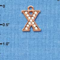 C5064 tlf - Crystal Rose Gold Letter - X - Beaded Border - Rose Gold Plated Charm