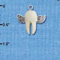 C5269+ tlf - White Tooth with Silver Wings - Tooth Fairy - Resin & Silver Plated Charm