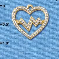 C5473 tlf - Large Clear Crystal Heart with Pulse - Gold Plated Charm