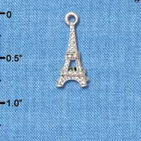 C5474+ tlf - AB Crystal Eiffel Tower - Silver Plated Charm