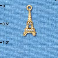 C5475+ tlf - Crystal Eiffel Tower - Gold Plated Charm