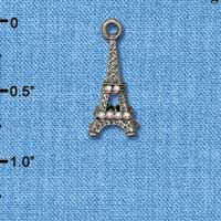C5476+ tlf - AB Crystal Eiffel Tower - Black Nickel Plated Charm