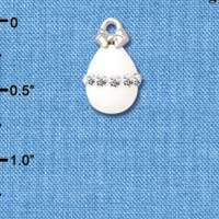 C5518+ tlf - White Easter Egg with Clear Crystal Band - Silver Plated Charm