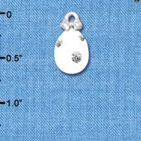 C5519+ tlf - White Easter Egg with Clear Crystal Dots - Silver Plated Charm