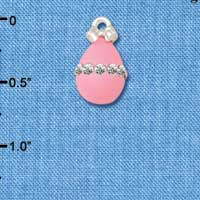 C5521+ tlf - Pink Easter Egg with Clear Crystal Band - Silver Plated Charm