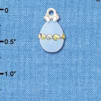 C5523+ tlf - Light Blue Easter Egg with Multicolored Crystal Band - Silver Plated Charm