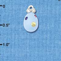 C5524+ tlf - Light Blue Easter Egg with Multicolored Crystal Dots - Silver Plated Charm